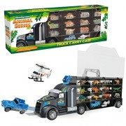 miYou Giant Transport Truck Toy Dinosaur and Wild Life Animal Safari Carrier Car with Jeep and Helicopter