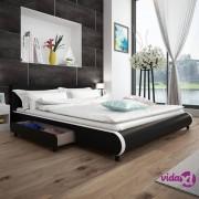vidaXL Krevet 180 x 200 cm s 2 Ladice Umjetna Koža Crna