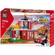 Joc constructie Statie de pompieri, 164 piese, Blocki