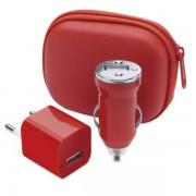 Charging Set include: geanta incarcator USB si incarcator USB pentru masina 1000 mA Rosu
