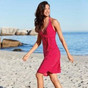 Tupfen-Badeanzug oder -Kleid, 46 - Rot/Weiss - Kleid