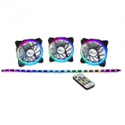Set 3 ventilatoare 120mm Inter-Tech Argus RS03 RGB + banda LED, controller si telecomanda incluse