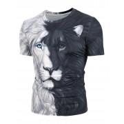 Rosegal T-shirt 3D Lion Imprimé Bicolore à Manches Courtes XL