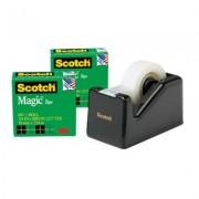 SCOTCH 810K4-C60B 810 MAGIC TAPE WITH BONUS C60 DISPENSER WITH 4 ROLLS 19MM X 25M. BLACK