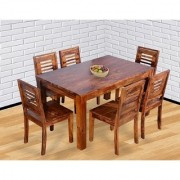 BM WOOD FURNITURE Sheesham Wood Dining Table 6 Seater Dining Table Chair Set Natural Finish