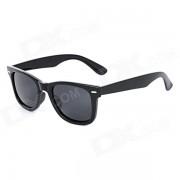 Unisex proteccion UV400 marco de plastico gafas de sol lentes de resina - Negro
