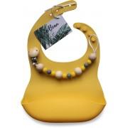 Slabbetje by Le Beau met Handgemaakte Speenkoord geel