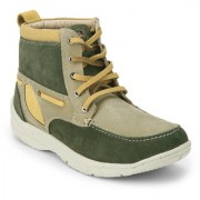 Red Chief Olive Men High Ankle Outdoor Casual Leather Shoes (RC3075 014)