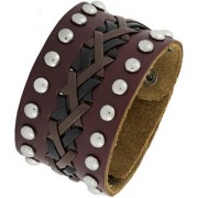 The Jewelbox Bullet Biker Funky Braided 100 Genuine Handcrafted Black Brown Leather Wrist Band Bracelet