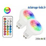 Lot de 2 ampoules LED GU10 Blanc Chaud & Couleurs 3W ref dm-20