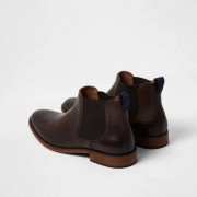 River Island Mens Dark Brown leather chelsea boots - Size 45 (EU)