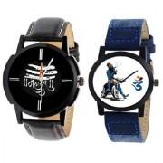 IDIVAS Round Dail Black And Blue Synthetic StrapMens Quartz Watch For Men