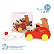 Wooden Bear with Drum Set Pull Along Toy for Toddlers Kids Multi-Color