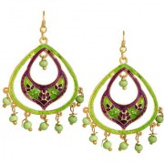Spargz Oval Shape Gold Plated Officewear Green Meenakari Hook Earrings For Women AIER 1066