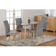 Morton Dining Table Set in Clear Glass (Table + 4 Chairs)