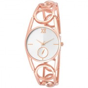 The Shopoholic Analog White Dial With Light Pink Metal Belt Watches For Women-Watches For Girls New