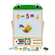 STOBOK Double Sided Drawing Easel Toy Wooden Magnetic Art Easel Animals Puzzles Games Early Educational Toys (Frog)