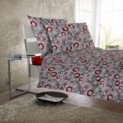 Lenjerie de pat Dormisete Stained RedX 200x220 / 50x70 bumbac 100 pentru pat 2 persoane 4 piese cearsaf pat uni rosu