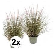 Bellatio flowers & plants 2x Pennisetum grasplant kunstplant 58 cm met pot