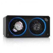 8LED2S стойка за навиване на ръчен часовник, 2 часовника, черна, LED