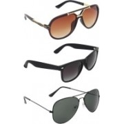 Zyaden Aviator, Wayfarer, Rectangular Sunglasses(Brown, Black, Black)