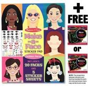 Fashion Faces: Make-A-Face Sticker Pad + FREE Melissa & Doug Scratch Art Mini-Pad Bundle [41959]