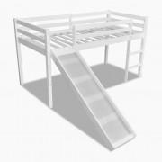 vidaXL Високо бяло детско легло със стъбла и пързалка 208 х 97 110 см