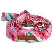 Fenyoung Collar y correa de algodón rosa para perro con lazo para grandes y pequeños, hebilla de metal de oro rosa, accesorio para mascotas, correa XL