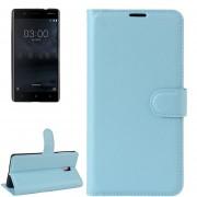 Para Nokia 3 Litchi Texture Horizontal Flip Funda De Cuero Con Soporte Y Ranuras Para Tarjetas Y Cartera (azul)