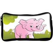 Snoogg cute big elephant background Poly Canvas Student Pen Pencil Case Coin Purse Utility Pouch Cosmetic Makeup Bag