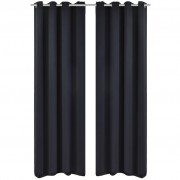 vidaXL 2 pcs Black Blackout Curtains with Metal Rings 135 x 245 cm