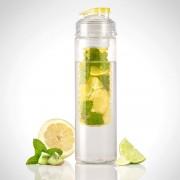 Rosenstein & Söhne Trinkflasche, Wasserflasche mit Fruchtbehälter, Tritan, BPA-frei, gelb