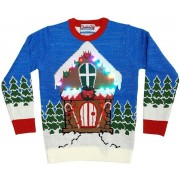 Kersttrui met kersthuis en verlichting - Foute kerst truien voor volwassenen - Trui met kerstprint - Fout kerstfeest kleding/trui S (36/48