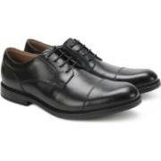Clarks Beckfield Cap Black Leather Lace Up For Men(Black)