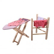 Family Motoring & Leisure Childrens Role Play Iron Wooden Clothes Airer Ironing Board Set