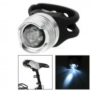 8lm luz blanca de la bici de la bicicleta de 1-LED del modo 2-Mode / lampara del casco - negro