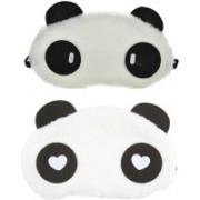 Jonty WH Cylinder Panda Travel Sleep Cover Blindfold (Pack of 2) Eye Shade(White)