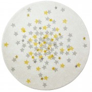 Art for Kids rond tapijt Nova - geel/grijs - 120x120 cm - Leen Bakker