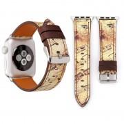 Voor Apple Watch serie 3 & 2 & 1 42mm geel Retro bloem serie muziek Score patroon Wrist Watch lederen Band