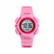 Ceas de copii sport SKMEI 1485 waterproof 5ATM cu alarma, cronometru, data si iluminare ecran, roz