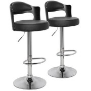 MENZZO Pack de 2 sillas de bar Ruben en madera negra con asiento en PU negro