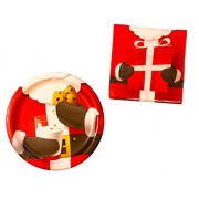 Christmas Paper Plates and Napkins - Santa Suit Design - 9 Paper Plates and 6.5 Napkins for 16 Guests by Unknown