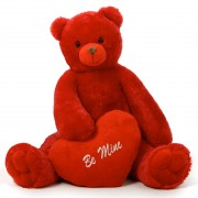 Huge Red 5 Feet Bigfoot Teddy Bear with a Red Be Mine Heart