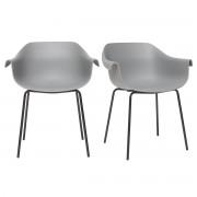Miliboo Design-Stühle Grau und Schwarz (2er-Satz) COUTURE