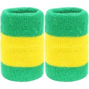 Neska Moda Unisex Pack Of 2 Green And Yellow Striped Cotton Wrist Band