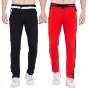 Cliths Sport Active Wear For Men- Trackpants Lower For Men Casual Stylish Pack Of 2 (Black White Red Black)