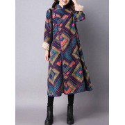 rosegal Argyle Chinese Style Loose Coat