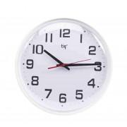 Ceas rotund de perete, D-348mm, cifre arabe, TIQ - rama plastic neagra - dial alb