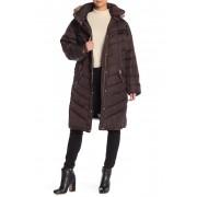 MICHAEL Michael Kors Faux Fur Long Coat Plus Size CHOCOLATE