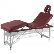 vidaXL Алуминиева масажна кушетка с 4 зони, цвят: червен